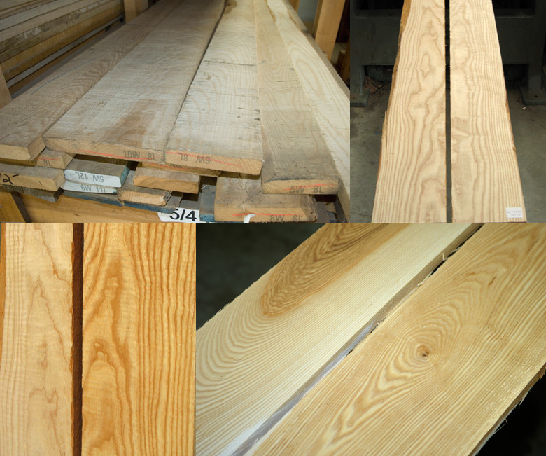 Samples of Ash lumber