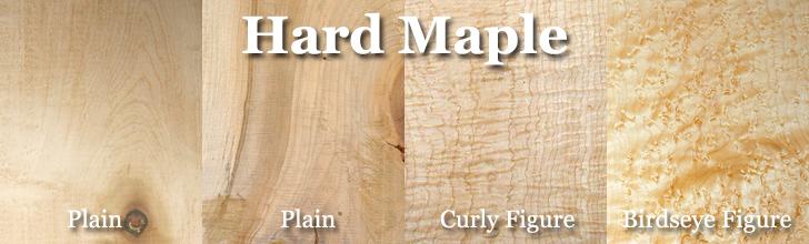 birdseye maple, curly maple, hard maple